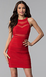Image of bandage-style high-neck short red party dress. Style: EM-EDK-1027-600 Front Image
