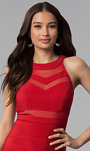 Image of bandage-style high-neck short red party dress. Style: EM-EDK-1027-600 Detail Image 1