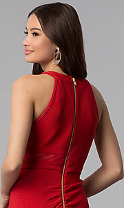 Image of bandage-style high-neck short red party dress. Style: EM-EDK-1027-600 Detail Image 2