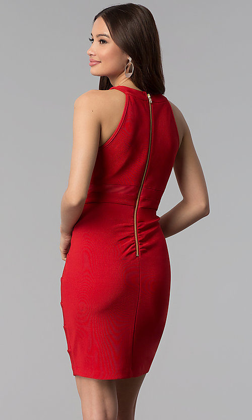 Image of bandage-style high-neck short red party dress. Style: EM-EDK-1027-600 Back Image