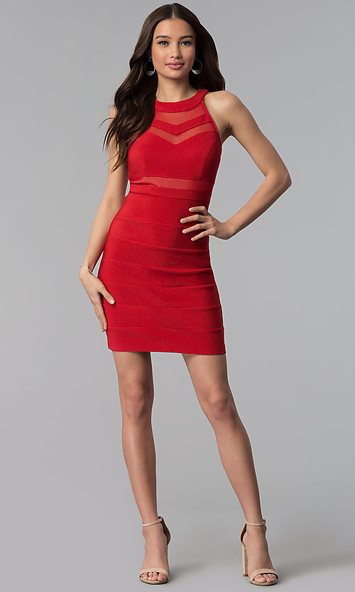 Image of bandage-style high-neck short red party dress. Style: EM-EDK-1027-600 Detail Image 3