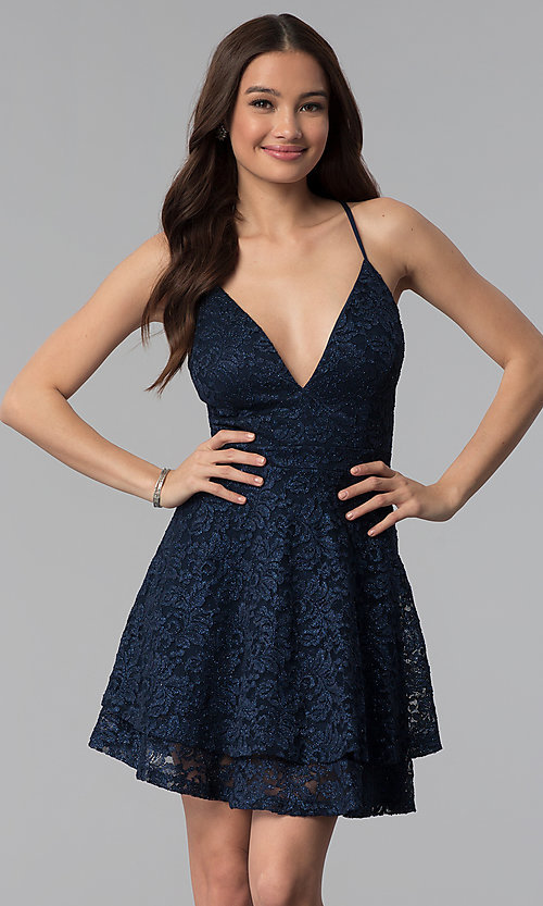 Image of glitter-lace tiered-skirt short navy party dress. Style: EM-FQP-3473-430 Front Image
