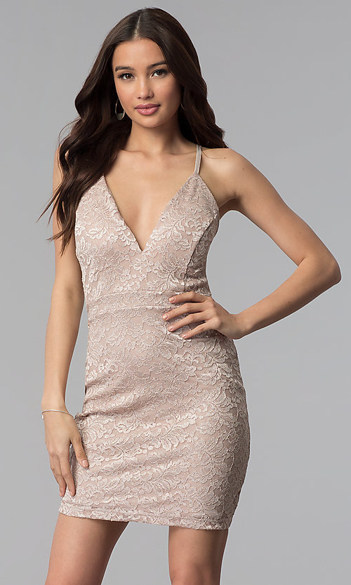 Image of glitter-lace v-neck short wedding-guest party dress. Style: EM-FQQ-3473-257 Front Image