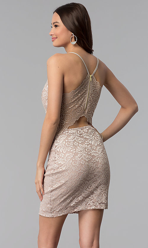 Image of glitter-lace v-neck short wedding-guest party dress. Style: EM-FQQ-3473-257 Back Image