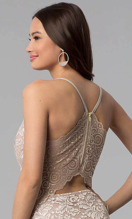 Image of glitter-lace v-neck short wedding-guest party dress. Style: EM-FQQ-3473-257 Detail Image 2