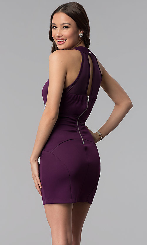 Image of short purple party dress with beaded empire waist. Style: EM-FTU-1003-500 Back Image