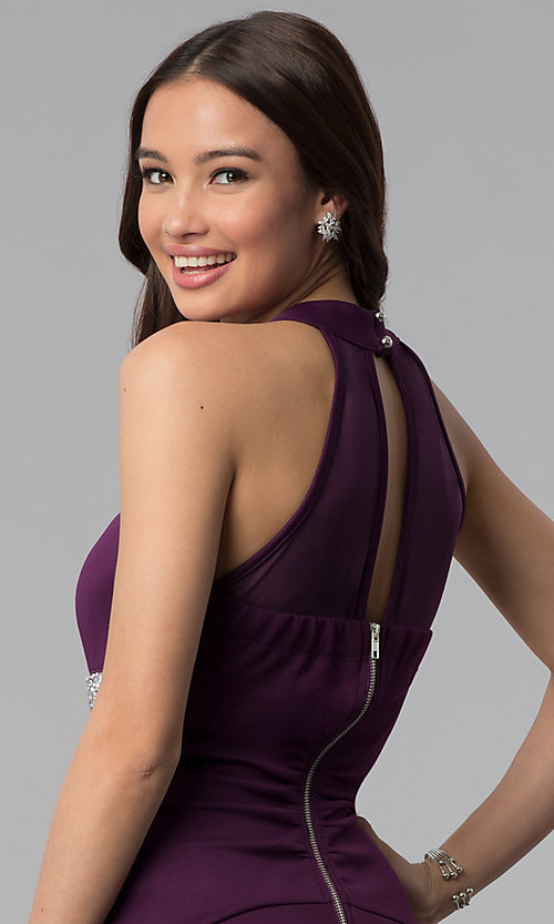 Image of short purple party dress with beaded empire waist. Style: EM-FTU-1003-500 Detail Image 2