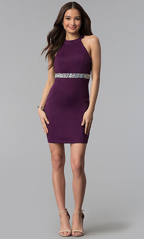 Image of short purple party dress with beaded empire waist. Style: EM-FTU-1003-500 Detail Image 3