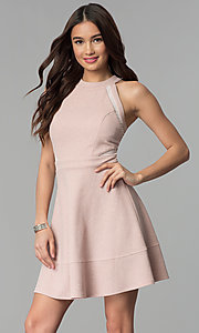 Image of glitter-knit short party dress in blush pink. Style: EM-FKY-3646-690 Front Image