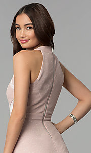 Image of glitter-knit short party dress in blush pink. Style: EM-FKY-3646-690 Detail Image 2