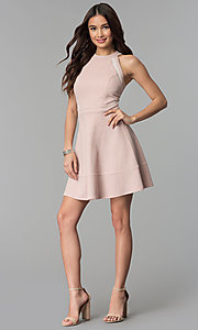 Image of glitter-knit short party dress in blush pink. Style: EM-FKY-3646-690 Detail Image 3
