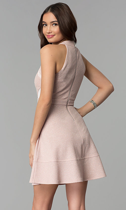 Image of glitter-knit short party dress in blush pink. Style: EM-FKY-3646-690 Back Image