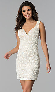 Image of short ivory empire-waist lace graduation party dress. Style: EM-ESD-2934-083 Front Image