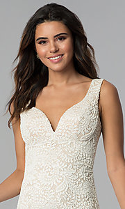 Image of short ivory empire-waist lace graduation party dress. Style: EM-ESD-2934-083 Detail Image 1
