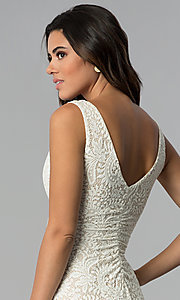 Image of short ivory empire-waist lace graduation party dress. Style: EM-ESD-2934-083 Detail Image 2