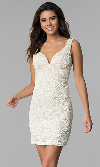 Short Ivory Empire-Waist Lace Graduation Party Dress