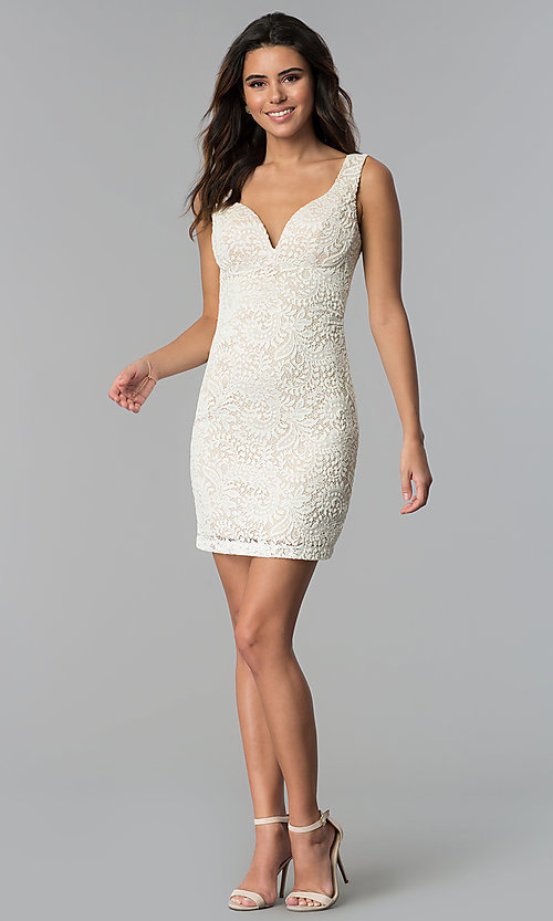 Image of short ivory empire-waist lace graduation party dress. Style: EM-ESD-2934-083 Detail Image 3