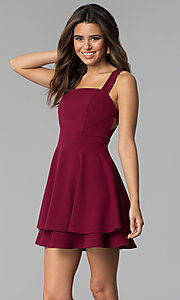 Image of square-neck short tiered party dress in garnet red. Style: EM-FWM-3405-560 Front Image