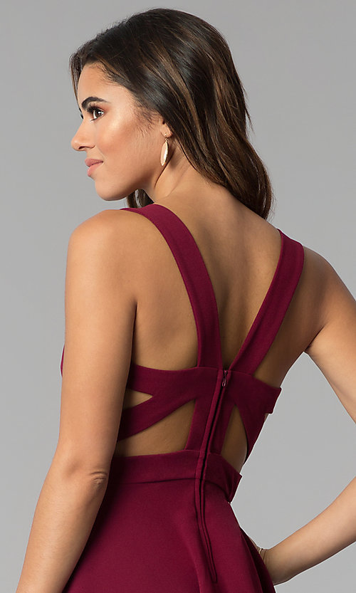 Image of square-neck short tiered party dress in garnet red. Style: EM-FWM-3405-560 Detail Image 2