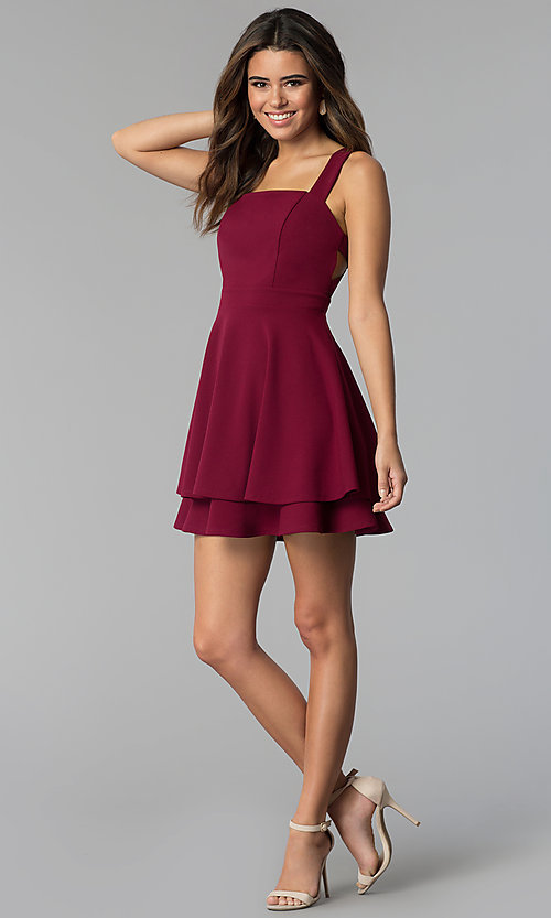 Image of square-neck short tiered party dress in garnet red. Style: EM-FWM-3405-560 Detail Image 3