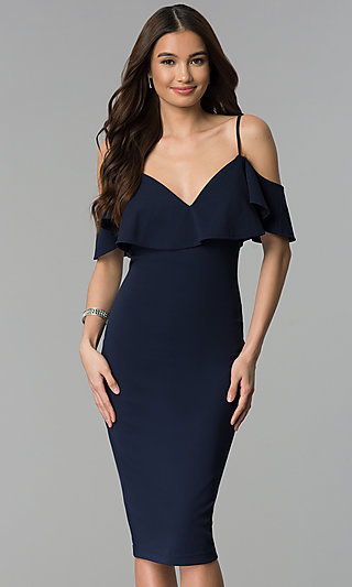 Cold Shoulder Navy Blue Short Wedding Guest Dress