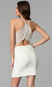 Image of lace-racerback short ivory v-neck graduation dress. Style: EM-FPR-1027-120 Back Image