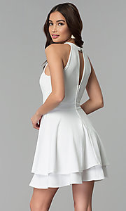Image of short ivory tiered-skirt graduation party dress. Style: EM-FXS-3405-120 Back Image