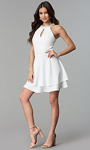Image of short ivory tiered-skirt graduation party dress. Style: EM-FXS-3405-120 Detail Image 3