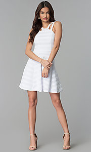 Image of double-strap white-on-white striped party dress. Style: EM-FXR-3087-100 Detail Image 3