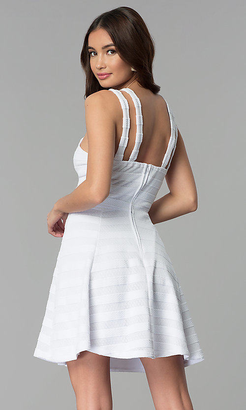 Image of double-strap white-on-white striped party dress. Style: EM-FXR-3087-100 Back Image