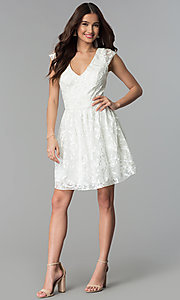 Image of ribbon-embroidered ivory graduation party dress. Style: EM-FXG-3753-120 Detail Image 3