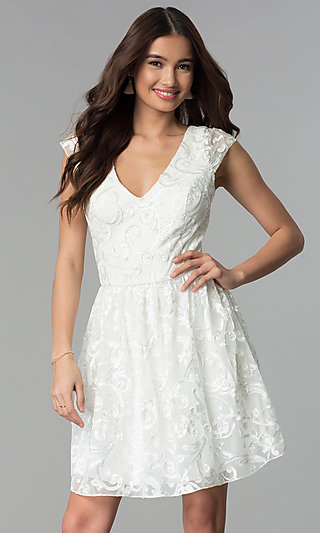 Ribbon-Embroidered Ivory Graduation Party Dress
