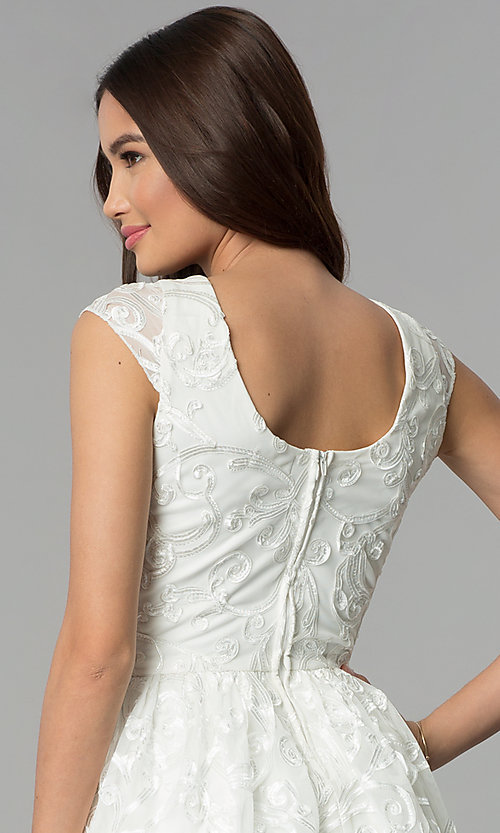 Image of ribbon-embroidered ivory graduation party dress. Style: EM-FXG-3753-120 Detail Image 2