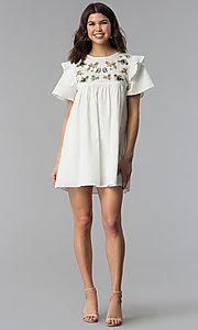 Image of short white cotton shift dress with embroidered yoke. Style: VJ-LD42080 Detail Image 3