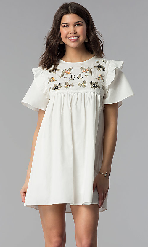 Image of short white cotton shift dress with embroidered yoke. Style: VJ-LD42080 Front Image