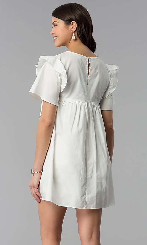 Image of short white cotton shift dress with embroidered yoke. Style: VJ-LD42080 Back Image