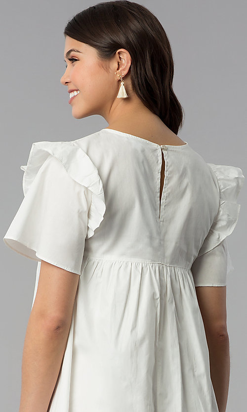 Image of short white cotton shift dress with embroidered yoke. Style: VJ-LD42080 Detail Image 2
