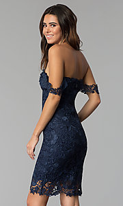 Image of lace off-the-shoulder short cocktail party dress. Style: SOI-S17631 Back Image