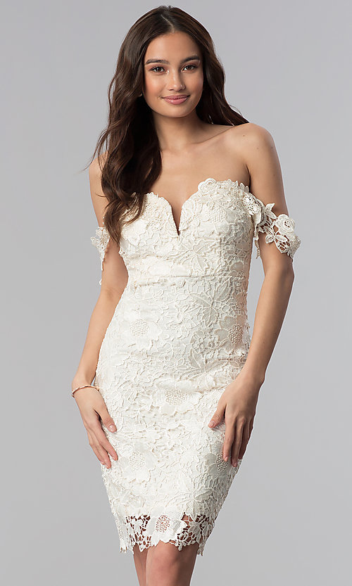 Image of lace off-the-shoulder short cocktail party dress. Style: SOI-S17631 Detail Image 1