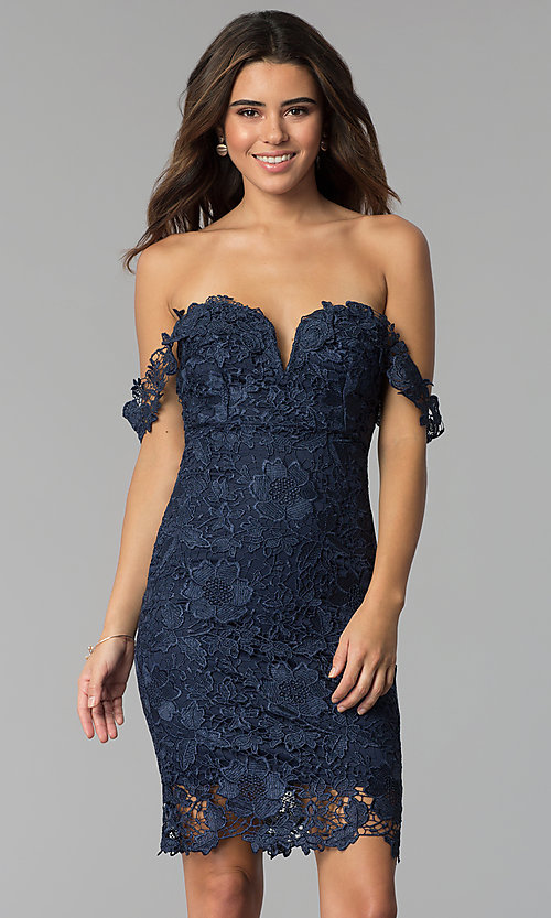 Image of lace off-the-shoulder short cocktail party dress. Style: SOI-S17631 Front Image