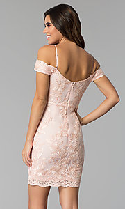 Image of lace party dress with off-the-shoulder neckline. Style: SOI-S17888 Back Image