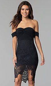 Image of cocktail party off-the-shoulder high-low lace dress. Style: SOI-S17791 Front Image