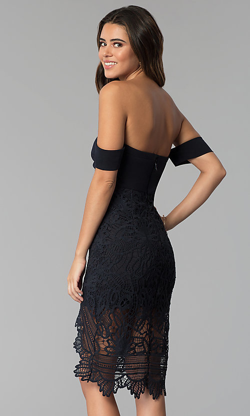 Image of cocktail party off-the-shoulder high-low lace dress. Style: SOI-S17791 Back Image