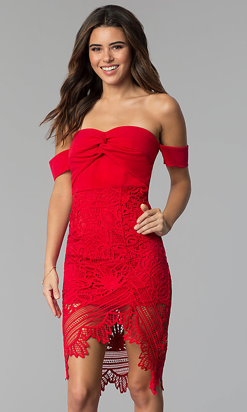 Image of cocktail party off-the-shoulder high-low lace dress. Style: SOI-S17791 Detail Image 3