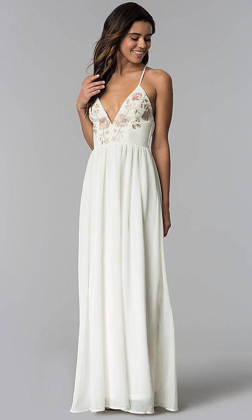0ee112406b4 Image of v-neck long wedding-guest dress with embroidery. Style  SOI