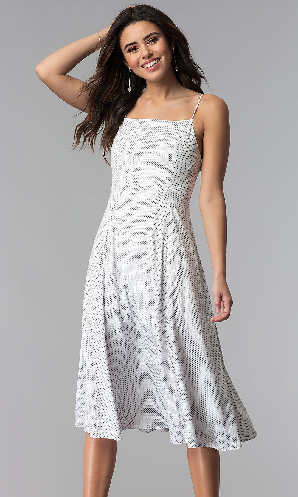 Knee,Length Casual White Party Dress with Dot Print