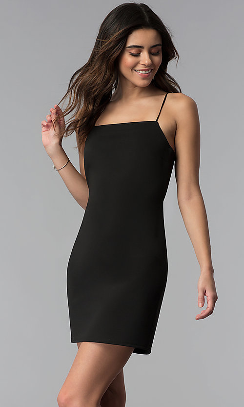 Image of square-neck black short cocktail party dress. Style: RO-R67466 Front Image