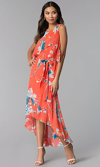 Casual Floral-Print High-Low Wedding Guest Dress