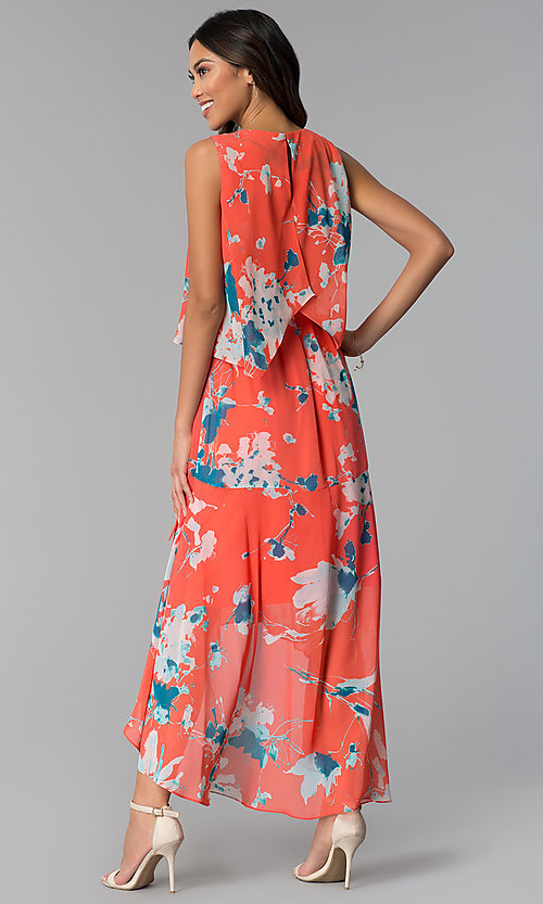 Image of casual floral-print high-low wedding guest dress. Style: SG-ACAS607C Back Image