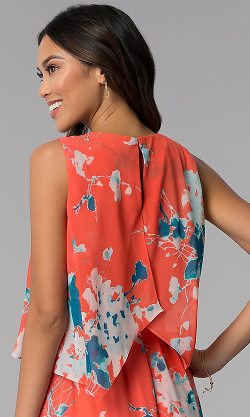 Image of casual floral-print high-low wedding guest dress. Style: SG-ACAS607C Detail Image 2